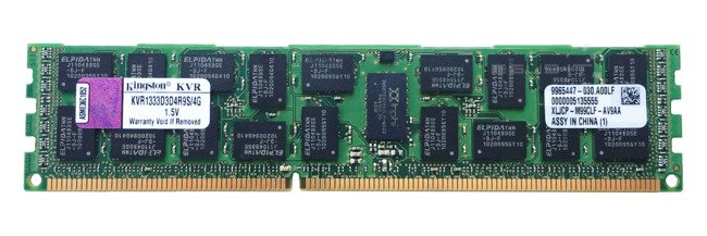 Arbeitspeicher 1x 4GB Kingston ECC REGISTERED DDR3  1333MHz PC3-10600 RDIMM | KVR1333D3D4R9S/4G